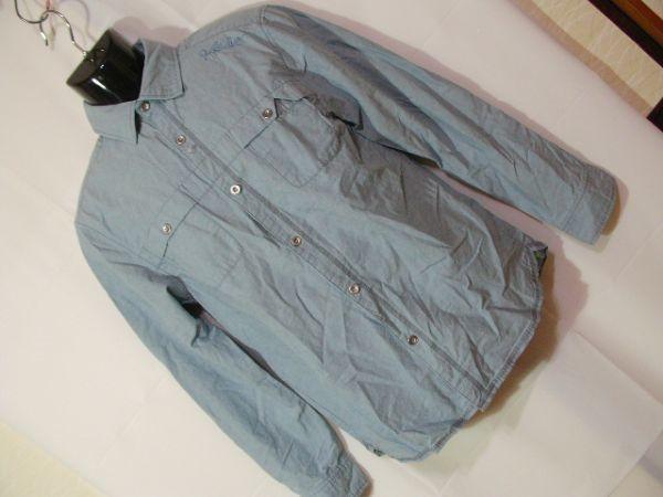 ssy417 GLIKSILVER メンズ 長袖 シャツ ライトブルー ■ カジュアル ■ 胸ポケット 肩に刺繍 無地 綿100% Mサイズ_画像1