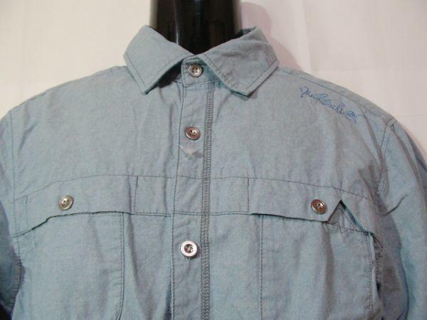 ssy417 GLIKSILVER メンズ 長袖 シャツ ライトブルー ■ カジュアル ■ 胸ポケット 肩に刺繍 無地 綿100% Mサイズ_画像2