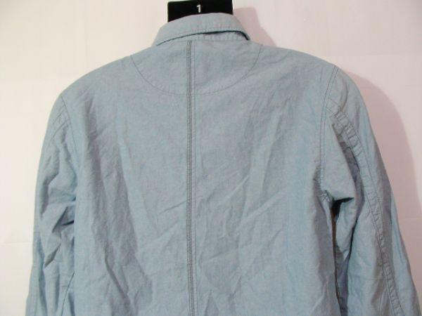 ssy417 GLIKSILVER メンズ 長袖 シャツ ライトブルー ■ カジュアル ■ 胸ポケット 肩に刺繍 無地 綿100% Mサイズ_画像7