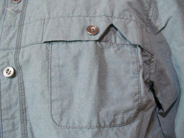 ssy417 GLIKSILVER メンズ 長袖 シャツ ライトブルー ■ カジュアル ■ 胸ポケット 肩に刺繍 無地 綿100% Mサイズ_画像4