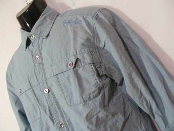 ssy417 GLIKSILVER メンズ 長袖 シャツ ライトブルー ■ カジュアル ■ 胸ポケット 肩に刺繍 無地 綿100% Mサイズ_画像3