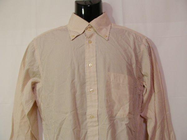 ssy312 SUIT SELECT 21 メンズ 長袖 ワイシャツ ベージュ×ホワイト ■ ボーダー ■ カフス用ボタンホール有り Mサイズ_画像2