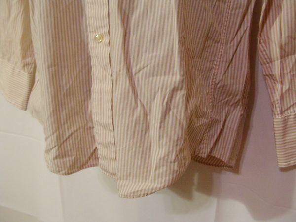 ssy312 SUIT SELECT 21 メンズ 長袖 ワイシャツ ベージュ×ホワイト ■ ボーダー ■ カフス用ボタンホール有り Mサイズ_画像5