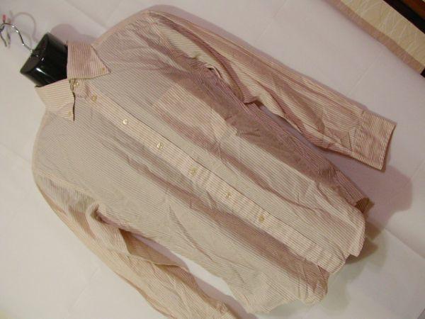 ssy312 SUIT SELECT 21 メンズ 長袖 ワイシャツ ベージュ×ホワイト ■ ボーダー ■ カフス用ボタンホール有り Mサイズ_画像1