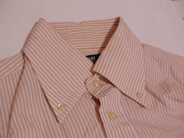 ssy312 SUIT SELECT 21 メンズ 長袖 ワイシャツ ベージュ×ホワイト ■ ボーダー ■ カフス用ボタンホール有り Mサイズ_画像7