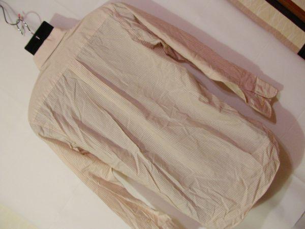 ssy312 SUIT SELECT 21 メンズ 長袖 ワイシャツ ベージュ×ホワイト ■ ボーダー ■ カフス用ボタンホール有り Mサイズ_画像10