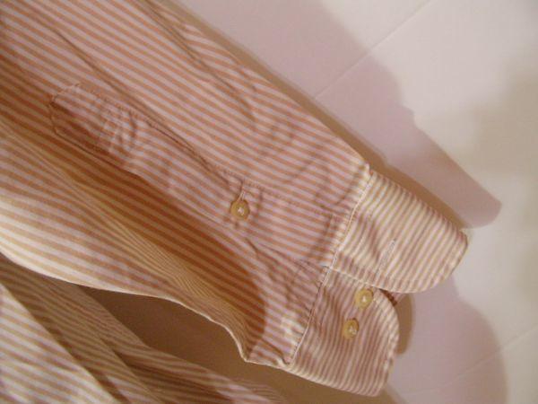 ssy312 SUIT SELECT 21 メンズ 長袖 ワイシャツ ベージュ×ホワイト ■ ボーダー ■ カフス用ボタンホール有り Mサイズ_画像6