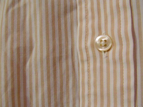 ssy312 SUIT SELECT 21 メンズ 長袖 ワイシャツ ベージュ×ホワイト ■ ボーダー ■ カフス用ボタンホール有り Mサイズ_画像4