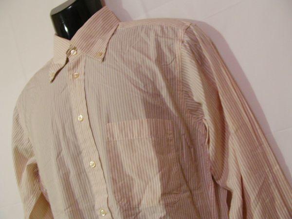 ssy312 SUIT SELECT 21 メンズ 長袖 ワイシャツ ベージュ×ホワイト ■ ボーダー ■ カフス用ボタンホール有り Mサイズ_画像3