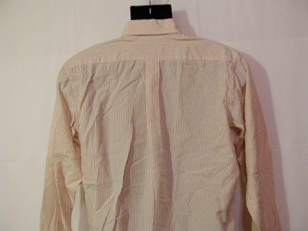 ssy312 SUIT SELECT 21 メンズ 長袖 ワイシャツ ベージュ×ホワイト ■ ボーダー ■ カフス用ボタンホール有り Mサイズ_画像8