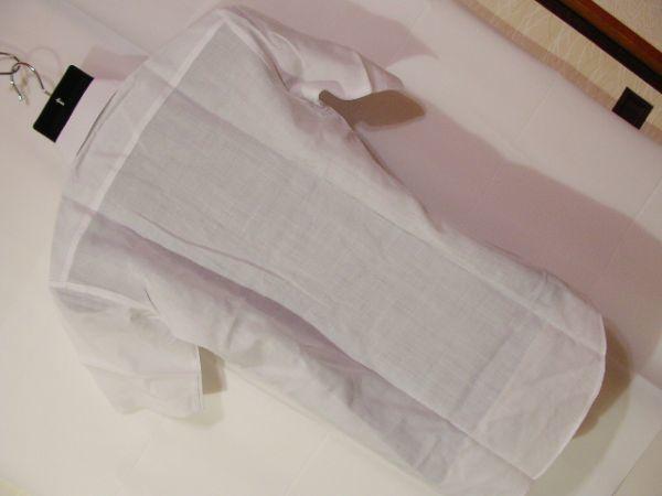 ssy592 SWAN メンズ 半袖 ワイシャツ ホワイト ■ 無地 ■ 胸ポケット 綿混素材 薄手 透け感 オフィス ビジネス Mサイズ_画像10