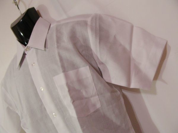 ssy592 SWAN メンズ 半袖 ワイシャツ ホワイト ■ 無地 ■ 胸ポケット 綿混素材 薄手 透け感 オフィス ビジネス Mサイズ_画像3