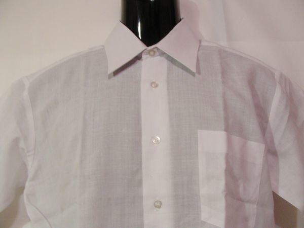 ssy592 SWAN メンズ 半袖 ワイシャツ ホワイト ■ 無地 ■ 胸ポケット 綿混素材 薄手 透け感 オフィス ビジネス Mサイズ_画像2