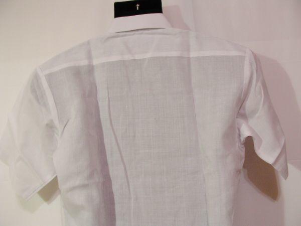 ssy592 SWAN メンズ 半袖 ワイシャツ ホワイト ■ 無地 ■ 胸ポケット 綿混素材 薄手 透け感 オフィス ビジネス Mサイズ_画像7