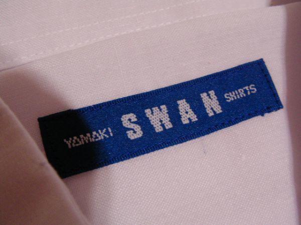 ssy592 SWAN メンズ 半袖 ワイシャツ ホワイト ■ 無地 ■ 胸ポケット 綿混素材 薄手 透け感 オフィス ビジネス Mサイズ_画像8