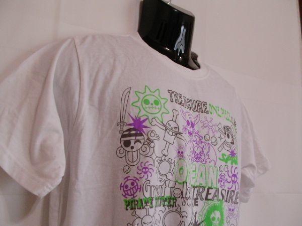 ssy240 半袖 Tシャツ ホワイト ■ キャラクタープリント ■ ONE PIECE ■ ワンピース クルーネック 丸首 綿混素材_画像3