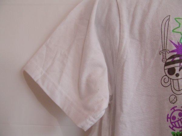 ssy240 半袖 Tシャツ ホワイト ■ キャラクタープリント ■ ONE PIECE ■ ワンピース クルーネック 丸首 綿混素材_画像6