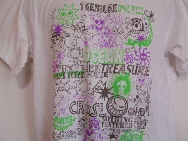 ssy240 半袖 Tシャツ ホワイト ■ キャラクタープリント ■ ONE PIECE ■ ワンピース クルーネック 丸首 綿混素材_画像2