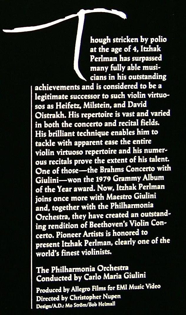 LD: イツァーク・パールマン / ベートーヴェン ヴァイオリン協奏曲 ニ長調 / カルロ・マリア・ジュリーニ 指揮 フィルハーモニア管弦楽団_裏面の一部/パールマンの経歴、演奏歴など