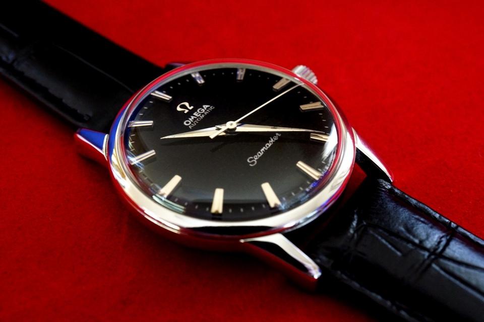 送料無料! OH済 オメガ シーマスター cal.501 OMEGA Seamaster 自動巻き 1959年 アンティーク メンズ腕時計 オーバーホール済