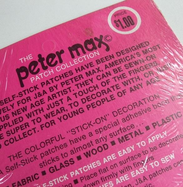 当時物 VINTAGE ピーターマックス Peter Max 刺繍 ワッペン Patches 未開封品 ビンテージ POP サイケデリック 米国製 _画像7