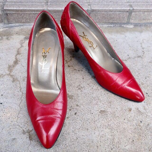 YSL パンプス 35 1/2 (22.5-23cm) 靴 赤 ヒール 通勤 エレガント フェミニン イブサンローラン_画像1