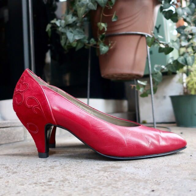 YSL パンプス 35 1/2 (22.5-23cm) 靴 赤 ヒール 通勤 エレガント フェミニン イブサンローラン_画像3