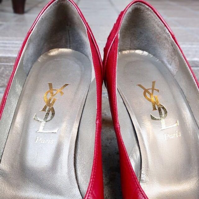YSL パンプス 35 1/2 (22.5-23cm) 靴 赤 ヒール 通勤 エレガント フェミニン イブサンローラン_画像2