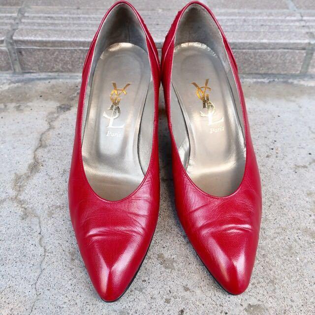 YSL パンプス 35 1/2 (22.5-23cm) 靴 赤 ヒール 通勤 エレガント フェミニン イブサンローラン_画像5