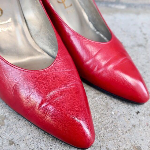 YSL パンプス 35 1/2 (22.5-23cm) 靴 赤 ヒール 通勤 エレガント フェミニン イブサンローラン_画像9