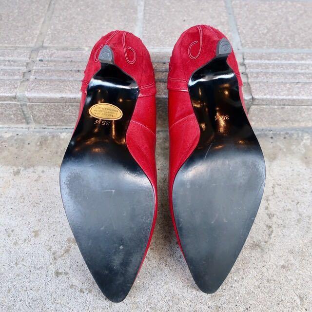 YSL パンプス 35 1/2 (22.5-23cm) 靴 赤 ヒール 通勤 エレガント フェミニン イブサンローラン_画像6