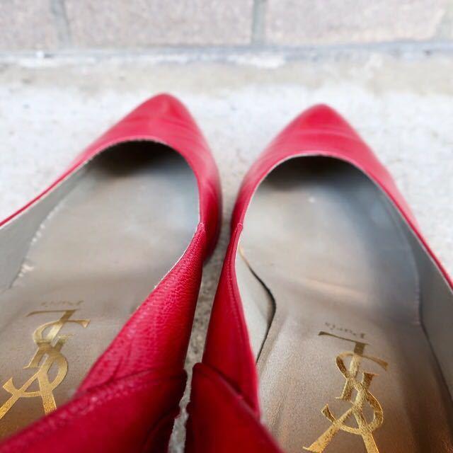 YSL パンプス 35 1/2 (22.5-23cm) 靴 赤 ヒール 通勤 エレガント フェミニン イブサンローラン_画像8