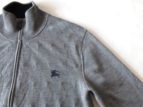 希少 BURBERRY BLACK LABEL バーバリーブラックレーベル ロゴ刺繍 シャドーアーガイル ウール ジップニットジャケット ブルゾン 2 グレー_画像5