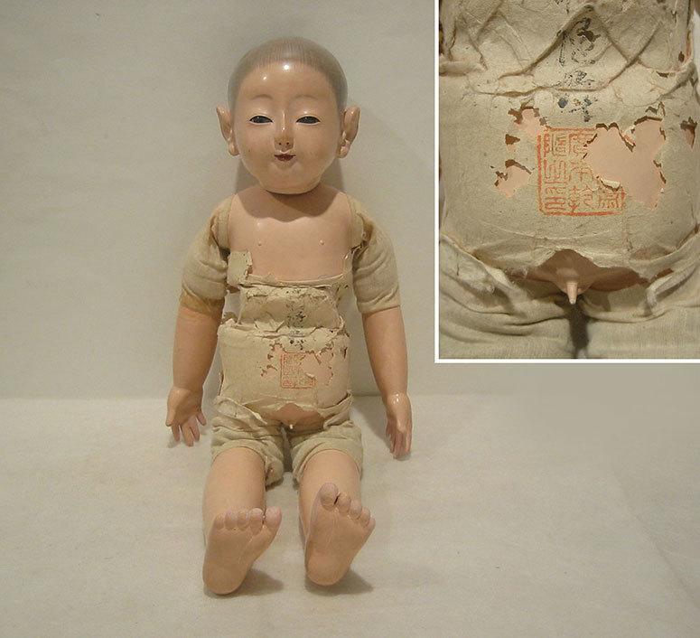 ◆紫野◆ 市松人形 「廣本乾随」 銘あり 45cm 泣き人形 抱き人形 雛人形