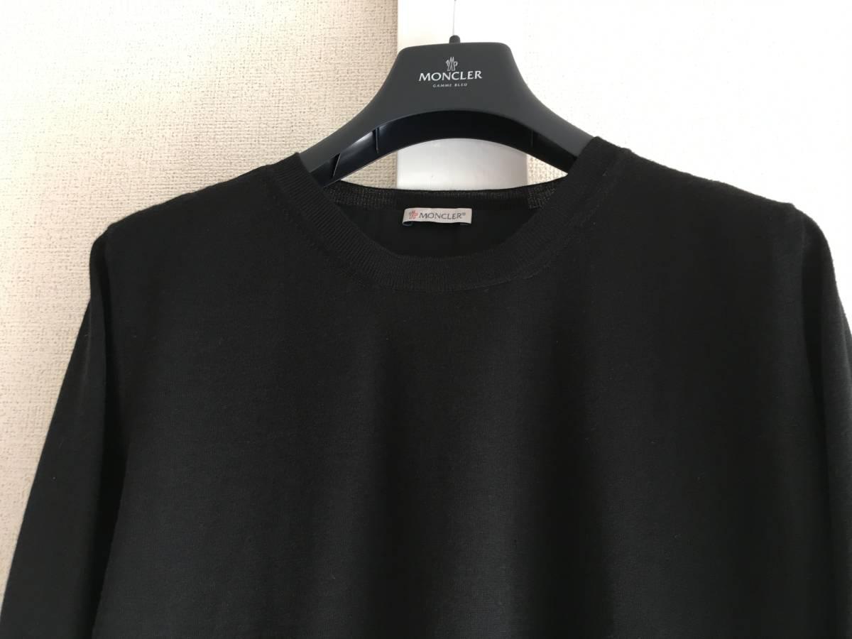 新品 本物 モンクレール ウール シルク プリーツ ドッキング ニット S 黒 ブラック MONCLER ニット セーター 異素材 トップス カットソー_画像4