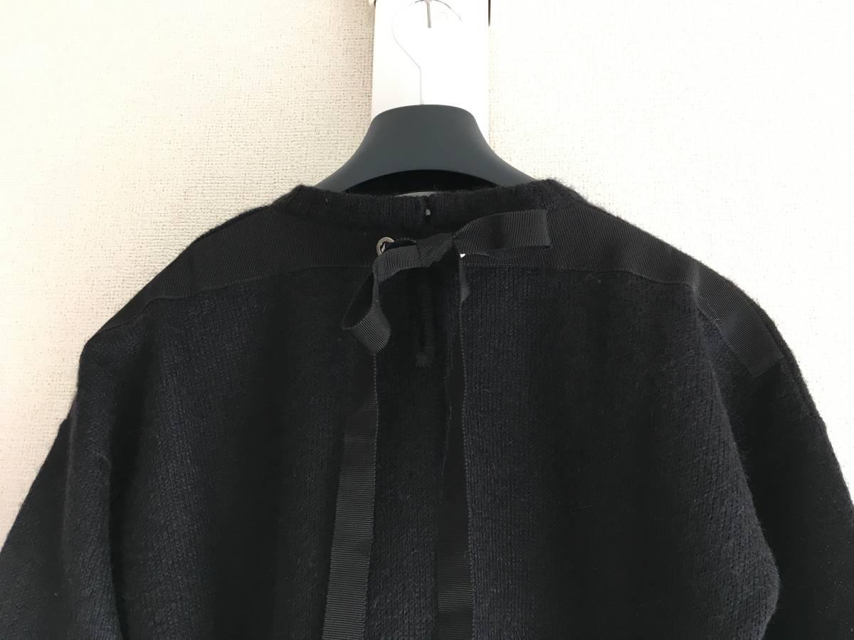 新品 本物 モンクレール モヘア リボン ニット S 黒 ブラック MONCLER ニット セーター トップス カットソー ウール_画像3