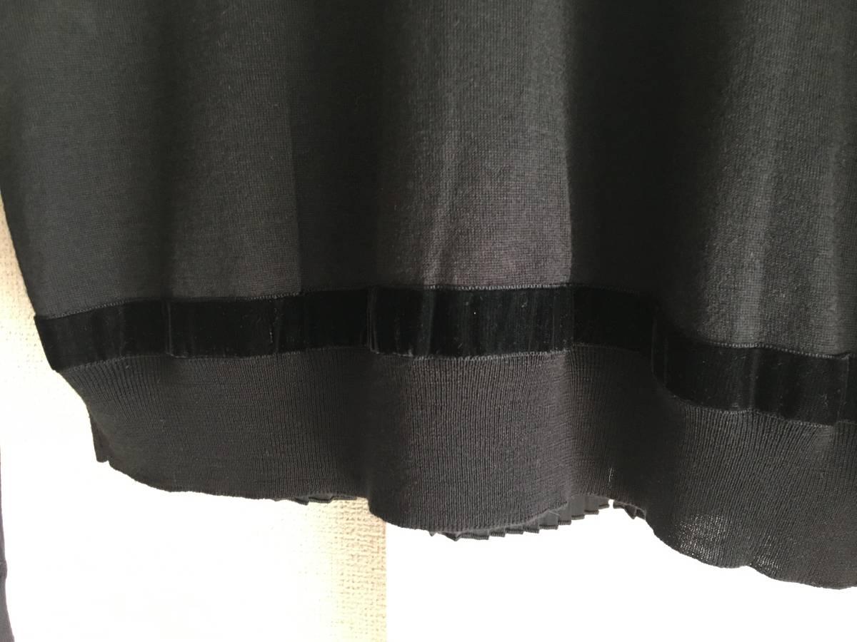 新品 本物 モンクレール ウール シルク プリーツ ドッキング ニット XS 黒 ブラック MONCLER ニット セーター 異素材 トップス カットソー_画像6