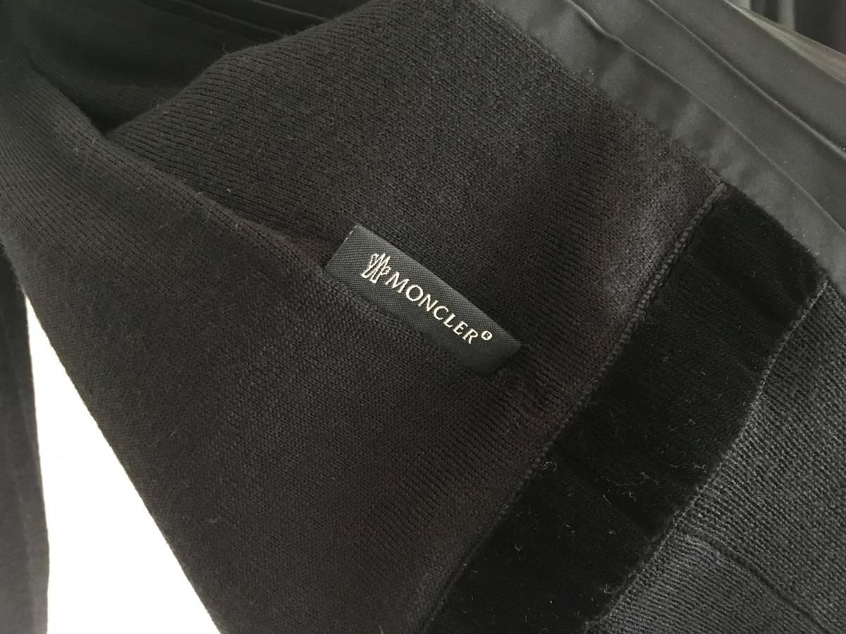 新品 本物 モンクレール ウール シルク プリーツ ドッキング ニット XS 黒 ブラック MONCLER ニット セーター 異素材 トップス カットソー_画像7