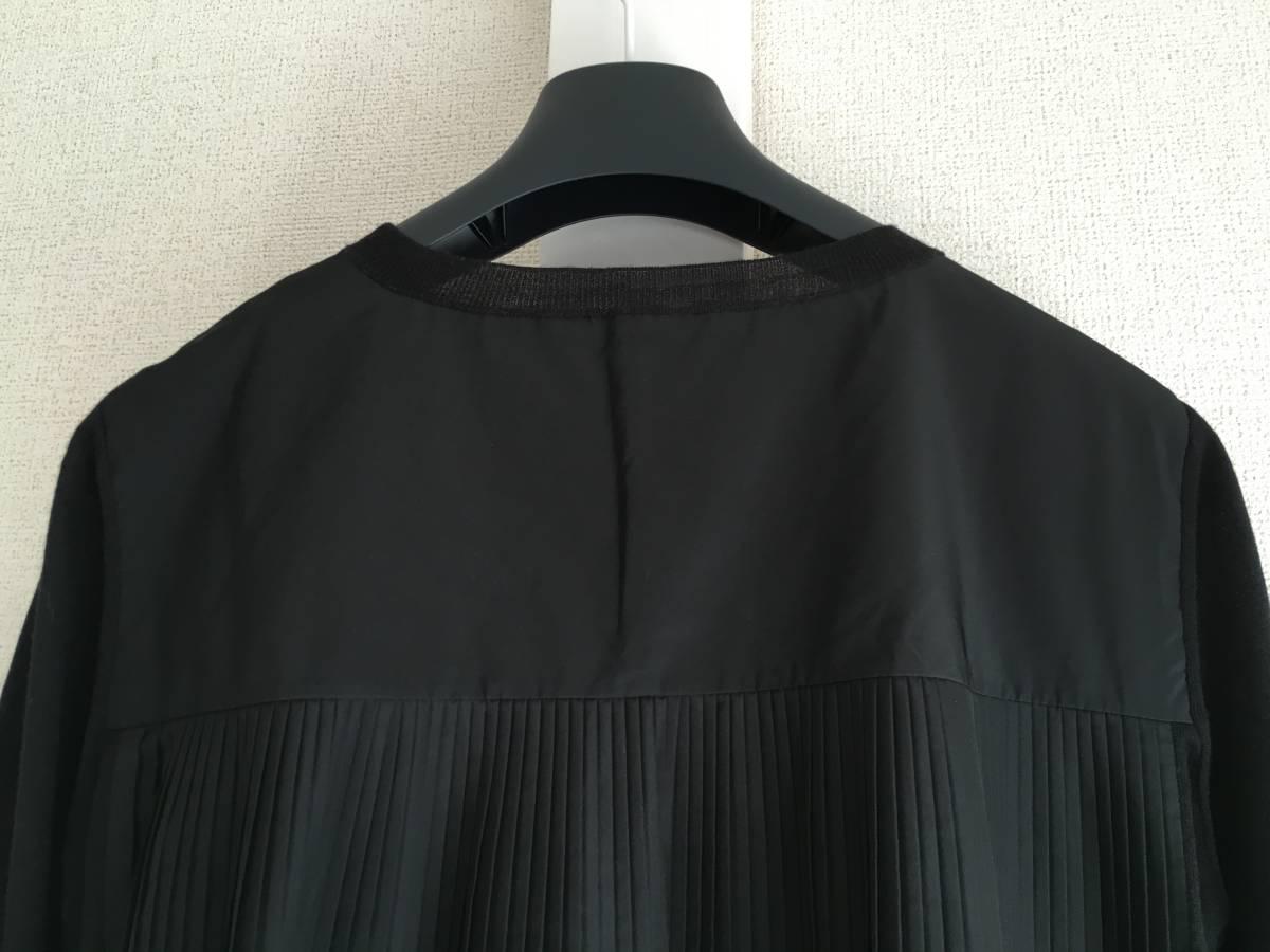 新品 本物 モンクレール ウール シルク プリーツ ドッキング ニット XS 黒 ブラック MONCLER ニット セーター 異素材 トップス カットソー_画像5