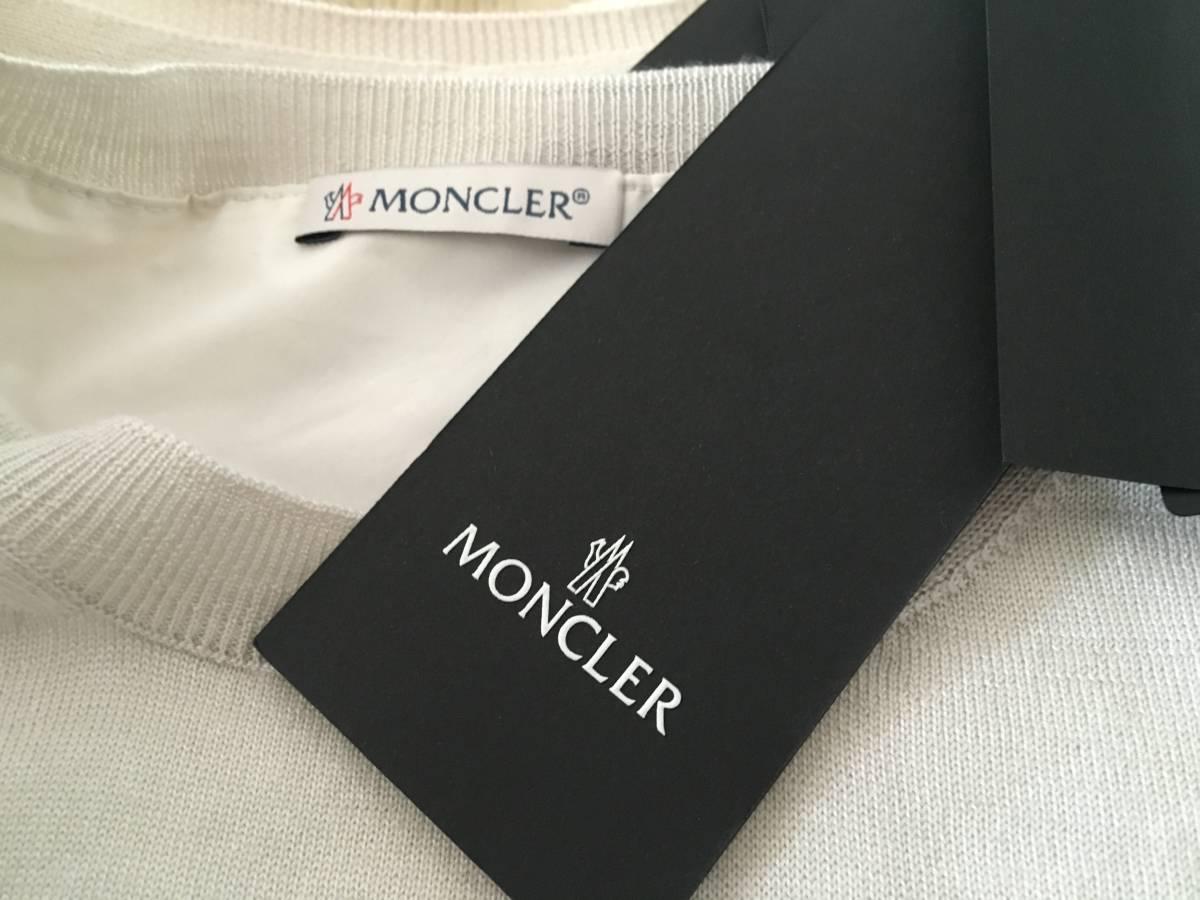 新品 本物 モンクレール ウール シルク プリーツ ドッキング ニット XS グレー ベージュ MONCLER セーター 異素材 トップス カットソー_画像9