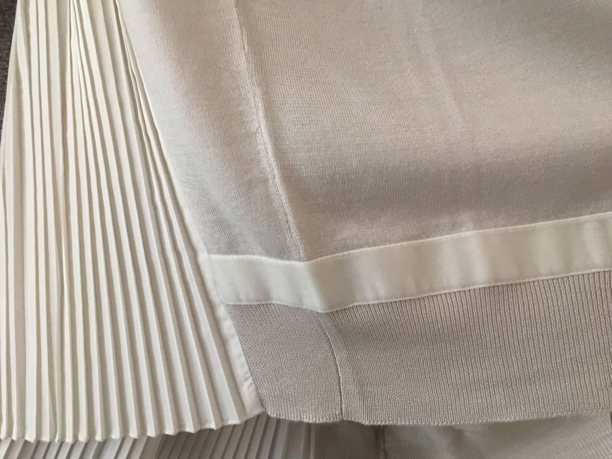 新品 本物 モンクレール ウール シルク プリーツ ドッキング ニット XS グレー ベージュ MONCLER セーター 異素材 トップス カットソー_画像6
