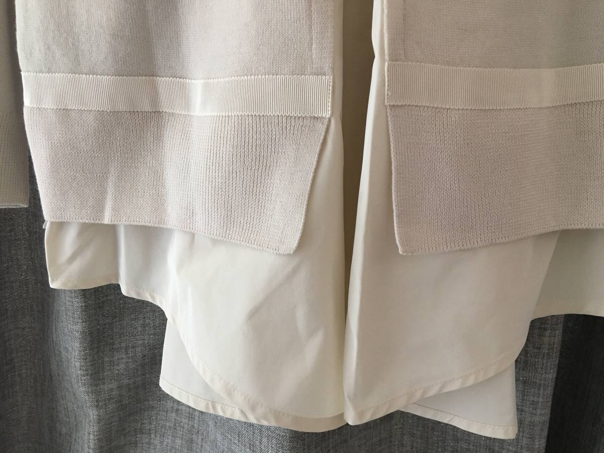 新品 本物 モンクレール ヴァージン ウール 異素材 ドッキング ニット カーディガン M ベージュ MONCLER セーター トップス ロゴ ワッペン_画像6