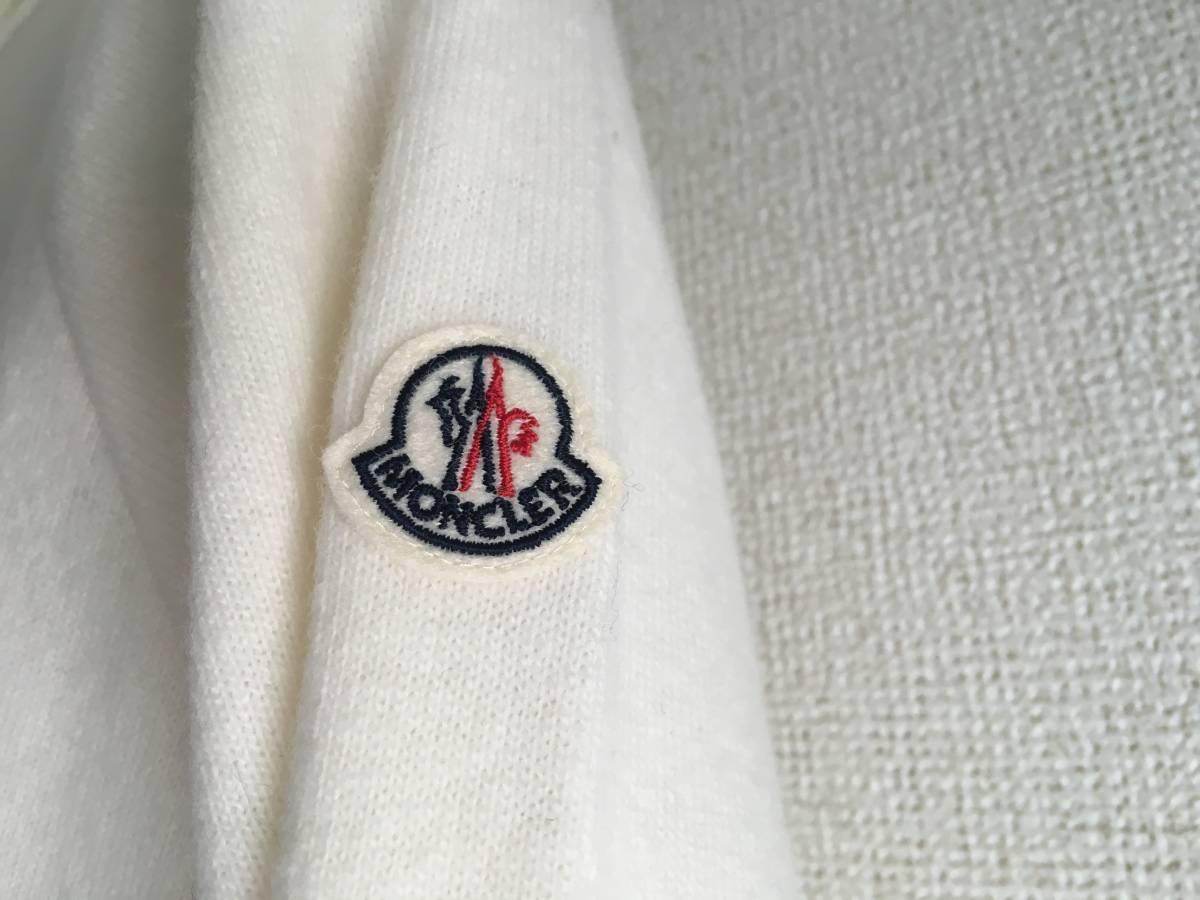 新品 本物 モンクレール ヴァージン ウール ハイネック ニット S アイボリー 白 ホワイト MONCLER セーター トップス ロゴ ワッペン 裏付き_画像5