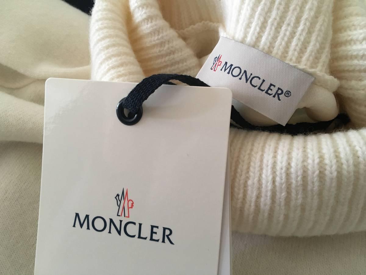新品 本物 モンクレール ヴァージン ウール ハイネック ニット S アイボリー 白 ホワイト MONCLER セーター トップス ロゴ ワッペン 裏付き_画像10