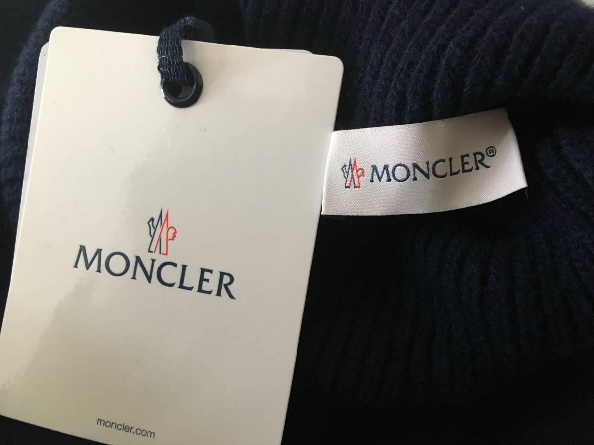 新品 本物 モンクレール ヴァージン ウール ハイネック ニット M ネイビー 紺 ブルー MONCLER セーター トップス ロゴ ワッペン 裏付き_画像10