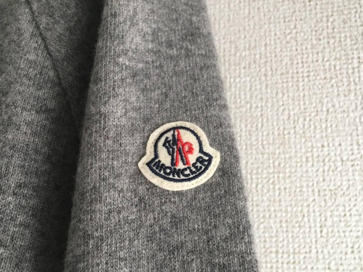 新品 本物 モンクレール ヴァージン ウール ハイネック ニット L グレー MONCLER セーター トップス ロゴ ワッペン 裏付き_画像5