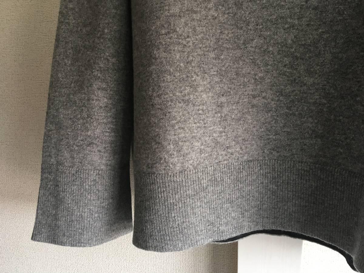 新品 本物 モンクレール ヴァージン ウール ハイネック ニット L グレー MONCLER セーター トップス ロゴ ワッペン 裏付き_画像6
