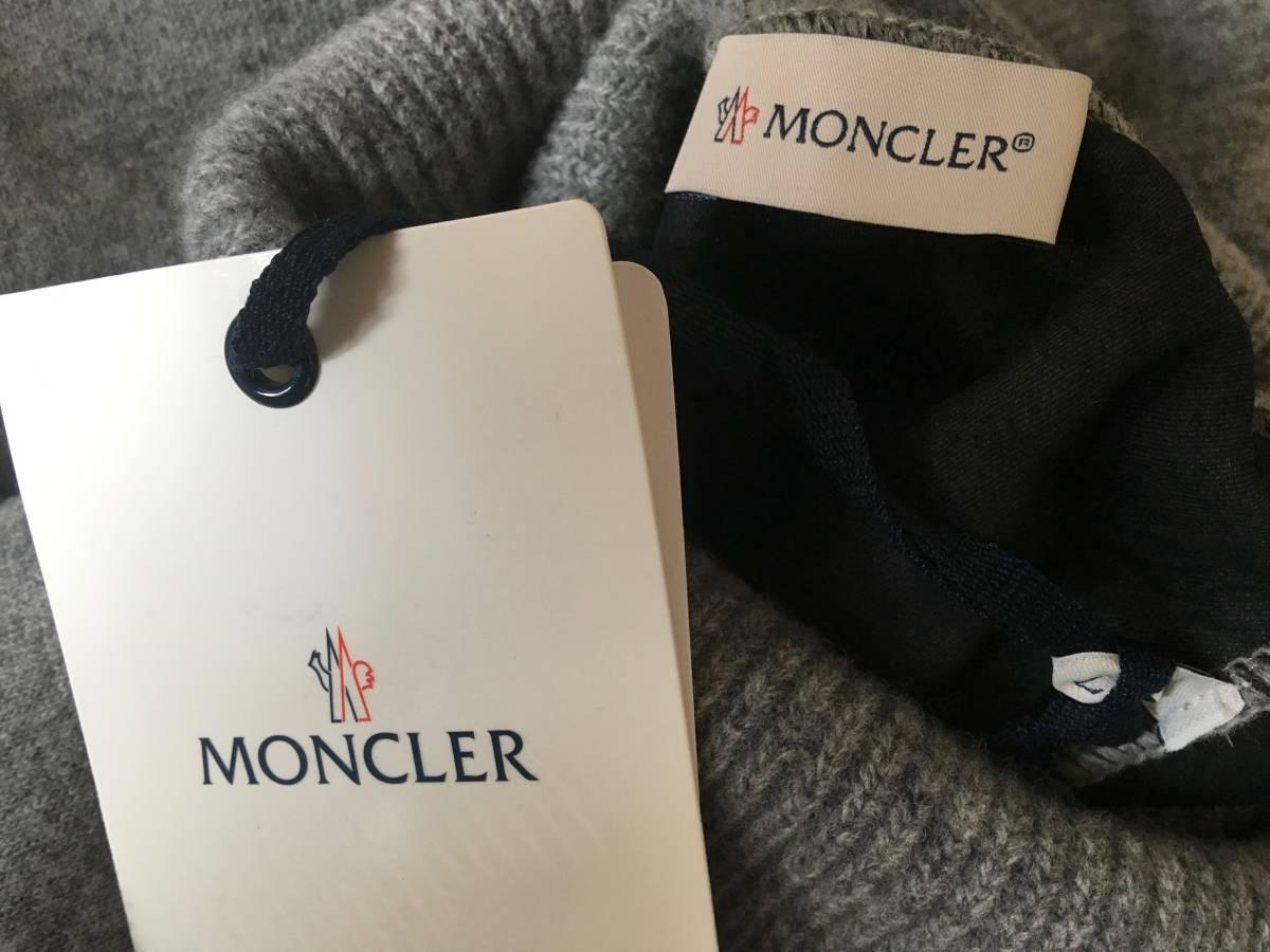新品 本物 モンクレール ヴァージン ウール ハイネック ニット L グレー MONCLER セーター トップス ロゴ ワッペン 裏付き_画像10