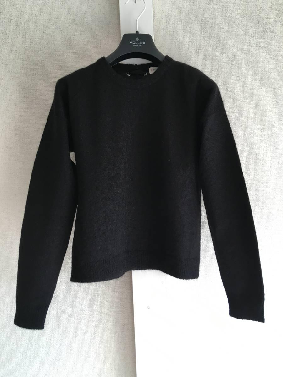 新品 本物 モンクレール モヘア リボン ニット S 黒 ブラック MONCLER ニット セーター トップス カットソー ウール_画像1