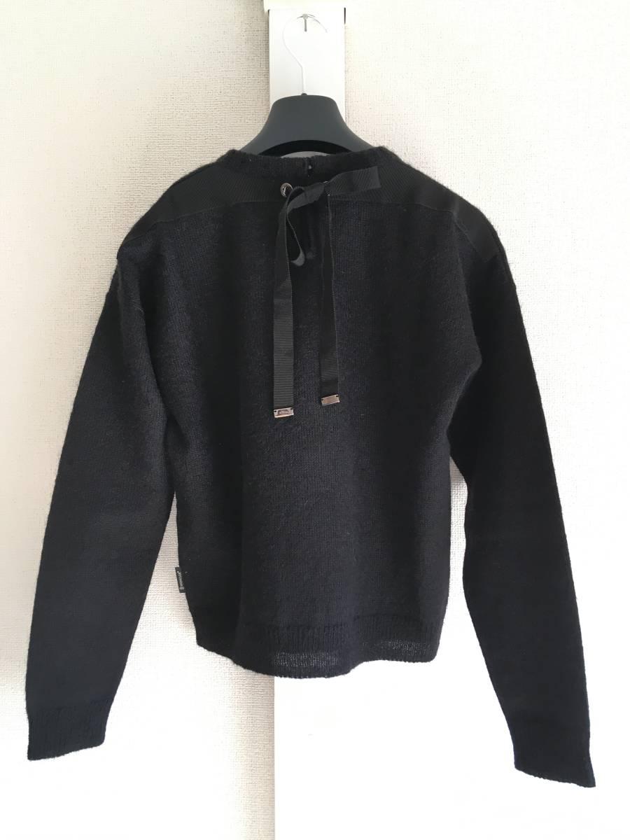 新品 本物 モンクレール モヘア リボン ニット S 黒 ブラック MONCLER ニット セーター トップス カットソー ウール_画像2